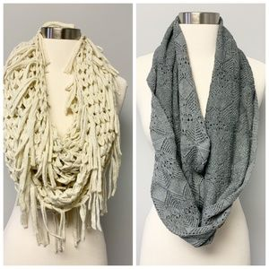 Lot of 2 infinity scarves Steve Madden & AEO